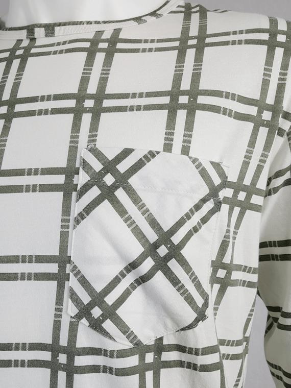 vintage Maison Martin Margiela men white longsleeve top with green tartan stripes spring 2004 130208