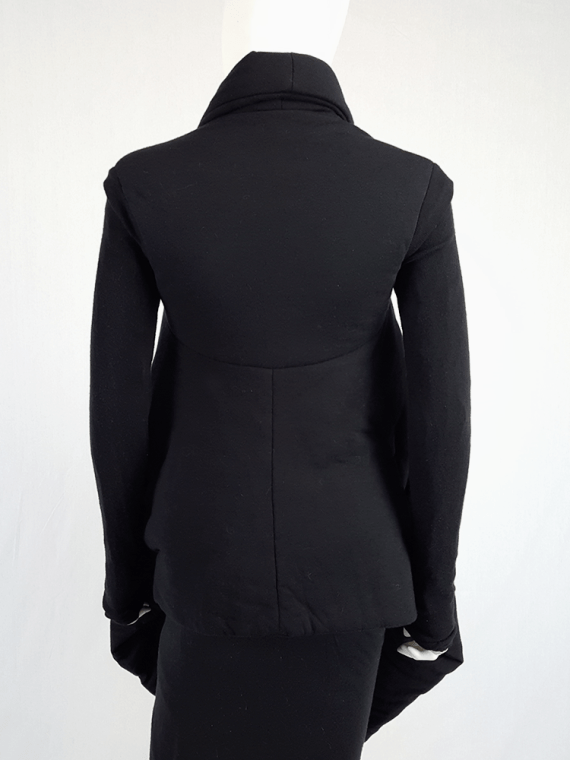 vintage Rick Owens lilies black padded coat with front drape 113821