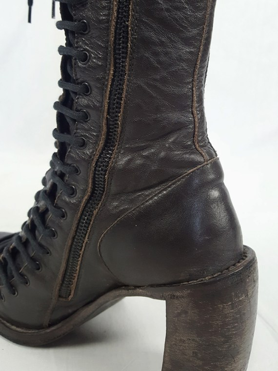 Ann Demeulemeester brown triple lace boots — fall 2008 (39)