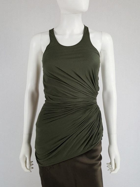 vintage Haider Ackermann green asymmetric pleated racerback top fall 2008 140029