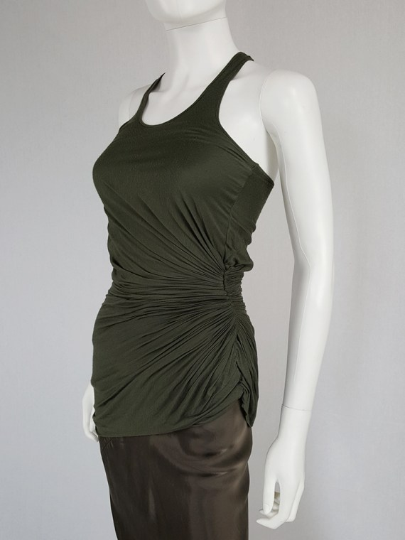 vintage Haider Ackermann green asymmetric pleated racerback top fall 2008 140045