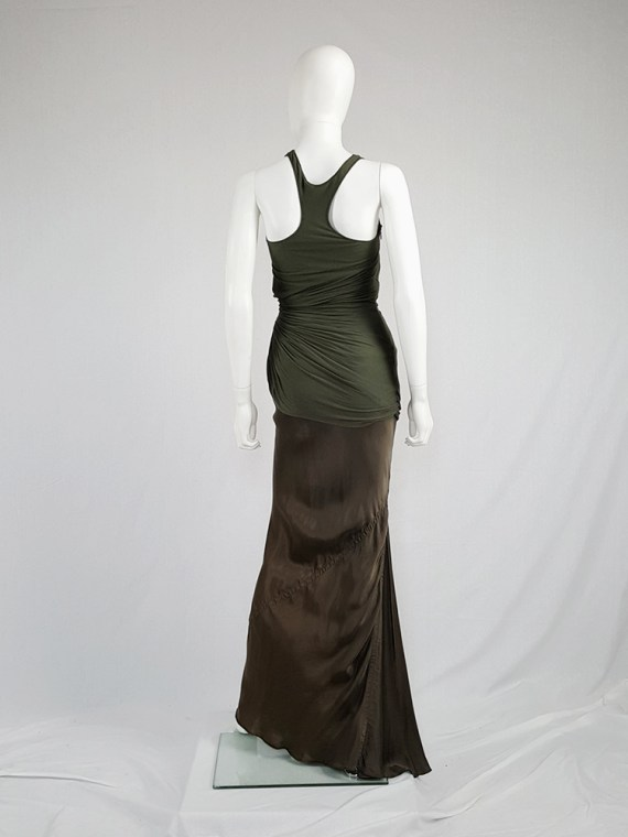 Haider Ackermann green asymmetric pleated racerback top — fall 2008