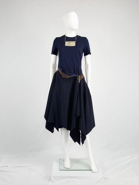 vintage Junya Watanabe blue asymmetric skirt with multi zipper waist spring 2005 vaniitas