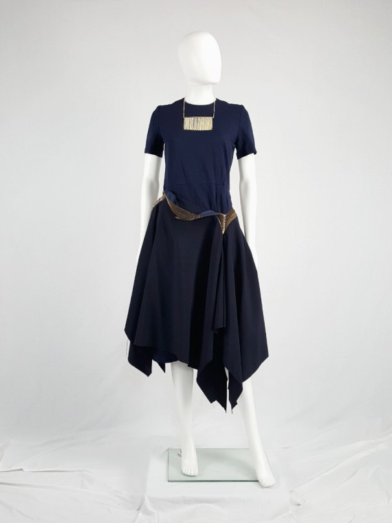 Junya Watanabe blue asymmetric skirt with multi zipper waist — spring 2005