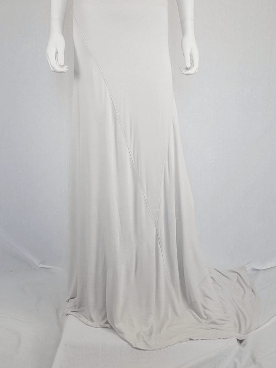 vintage AF Vandevorst white maxi dress with asymmetric open back spring 2011 114631