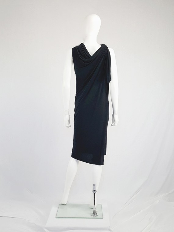 vintage Ann Demeulemeester black triple wrapped dress with 5 armholes spring 1998 091945