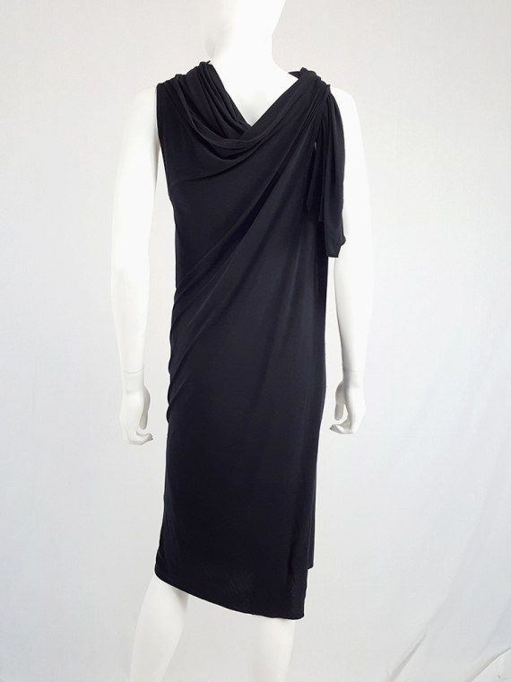 vintage Ann Demeulemeester black triple wrapped dress with 5 armholes spring 1998 092005