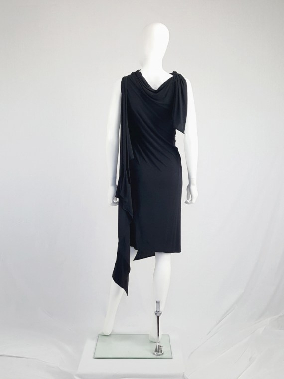 vintage Ann Demeulemeester black triple wrapped dress with 5 armholes spring 1998 092041