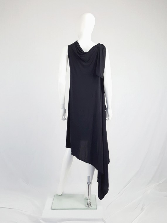 vintage Ann Demeulemeester black triple wrapped dress with 5 armholes spring 1998 092154