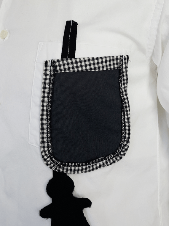 vintage Comme des Garcons Homme Plus white shirt with hanging dolls spring 2010 120047