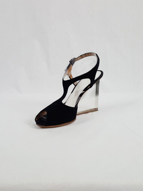 vintage Maison Martin Margiela black sandals with clear heels spring 2007 194258