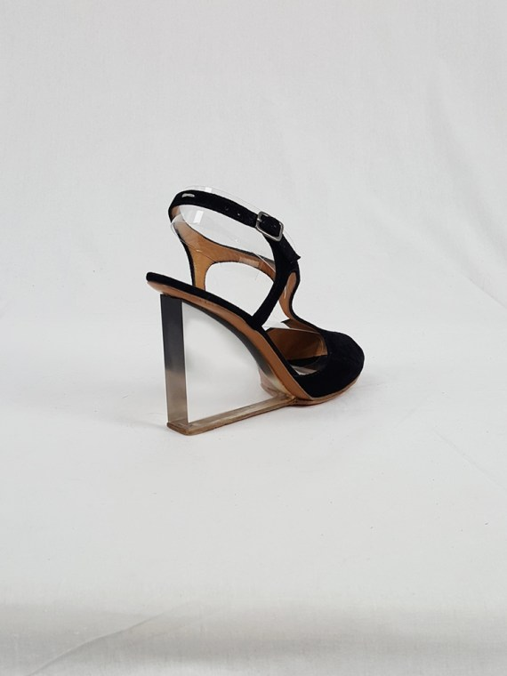 vintage Maison Martin Margiela black sandals with clear heels spring 2007 194341