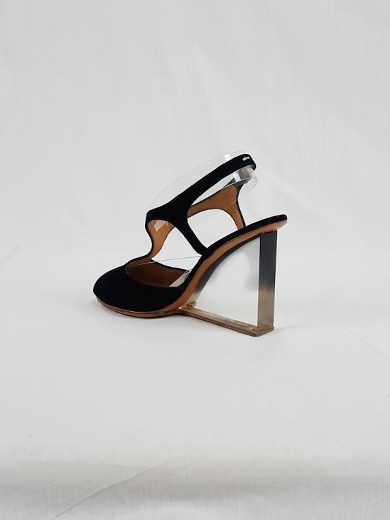 vintage Maison Martin Margiela black sandals with clear heels spring 2007 194405
