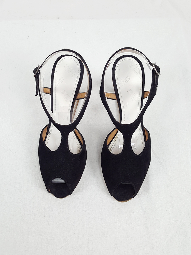 Maison Martin Margiela black sandals with clear heels — spring 2007