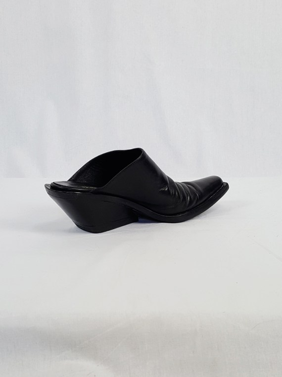 vintage Ann Demeulemeester black mules with slanted heel spring 2001 120547