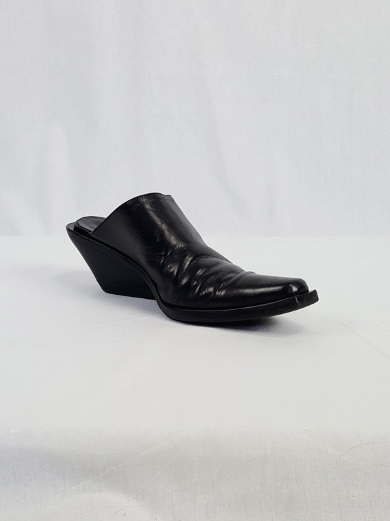 vintage Ann Demeulemeester black mules with slanted heel spring 2001 120611