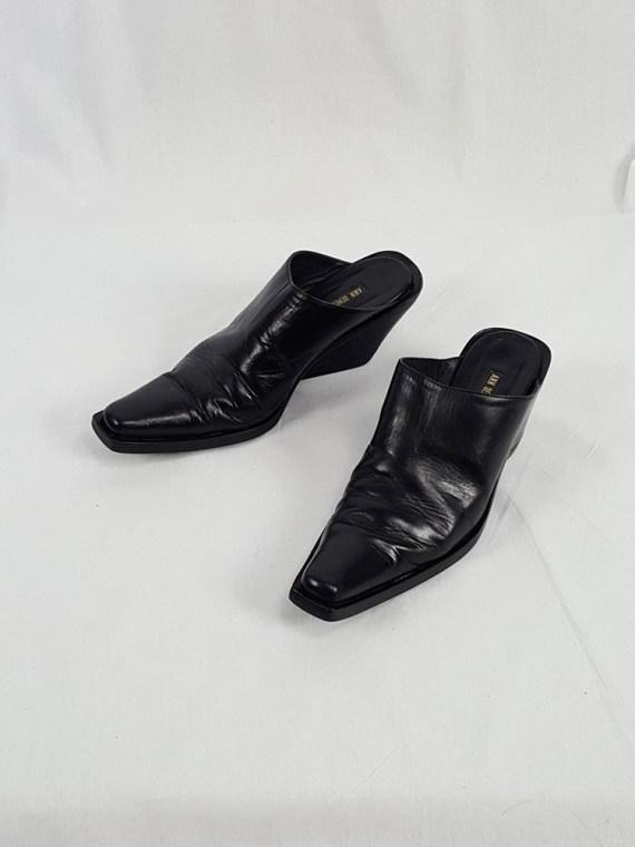 vintage Ann Demeulemeester black mules with slanted heel spring 2001 121033(0)