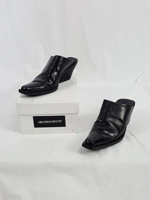 vintage Ann Demeulemeester black mules with slanted heel spring 2001 121444