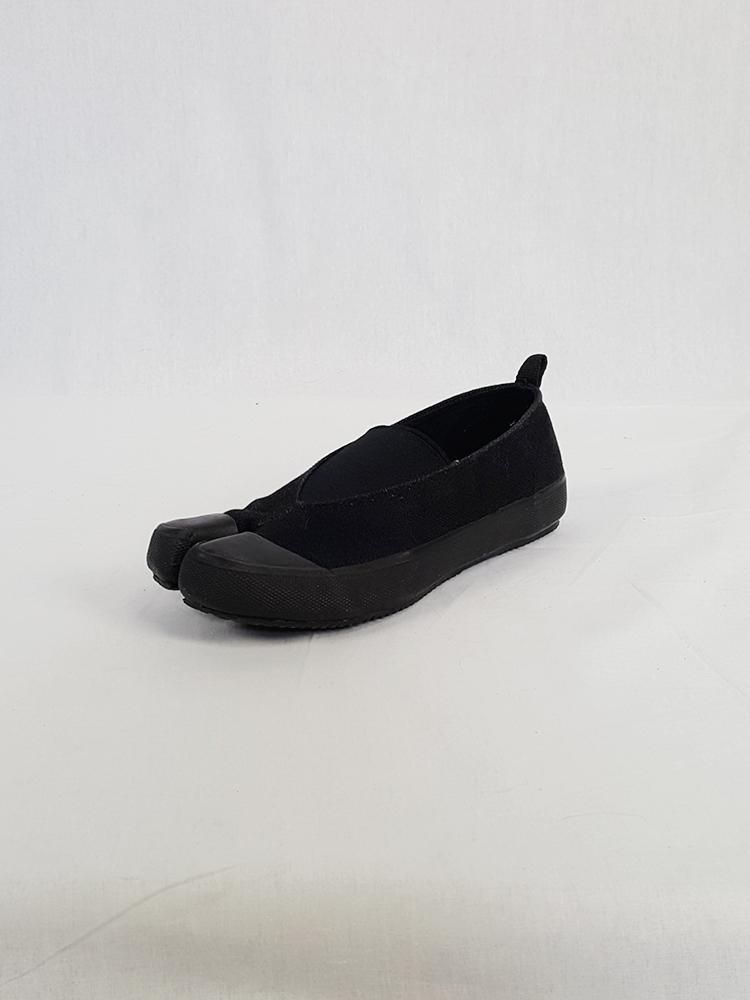 Maison Martin Margiela MM6 black tabi sneaker slip-ons — early 2000's