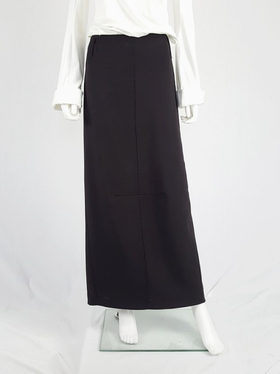 vintage Maison Martin Margiela black maxi skirt with back slit fall 1998 1037