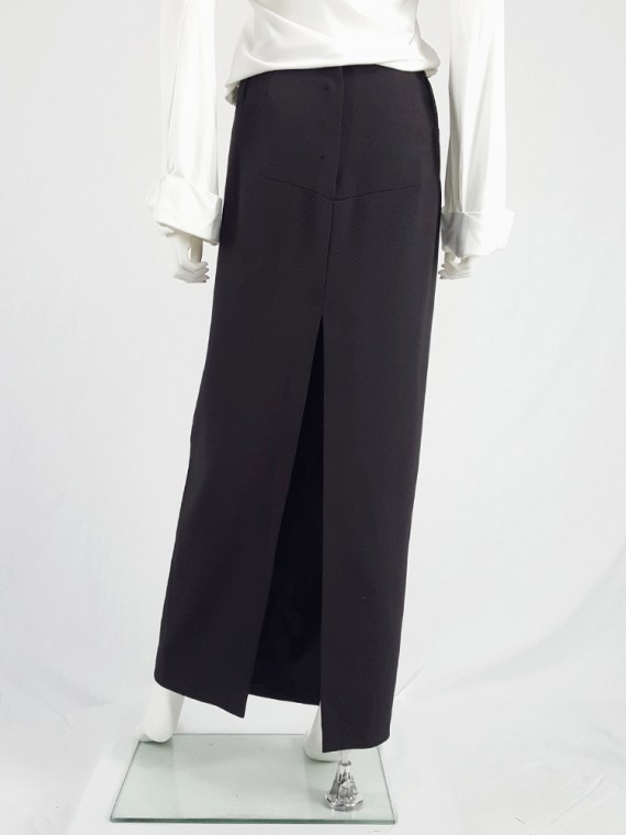 vintage Maison Martin Margiela black maxi skirt with back slit fall 1998 1427