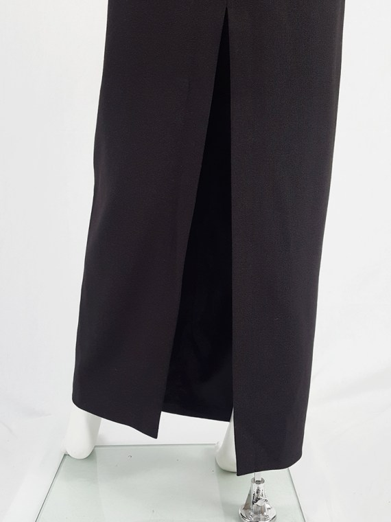 vintage Maison Martin Margiela black maxi skirt with back slit fall 1998 1448