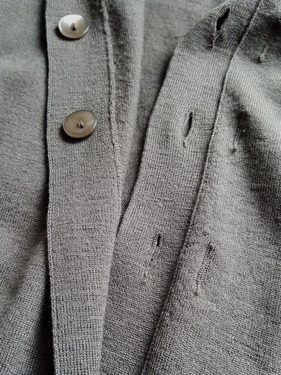 Maison Martin Margiela green inside-out button up cardigan — spring 2004