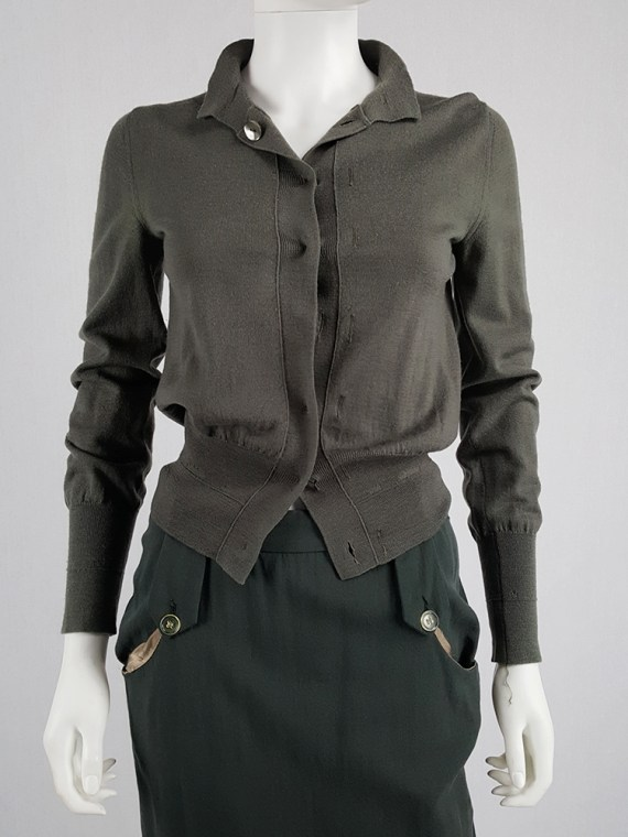 vintage Maison Martin Margiela green inside out button up cardigan spring 2004 200834(0)