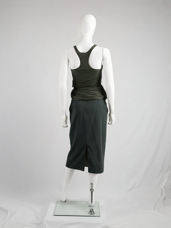 vintage Maison Martin Margiela green skirt with exposed pocket lining fall 2003 200419