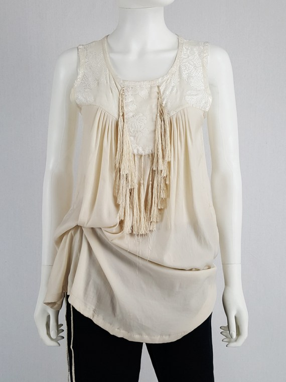 vintage Ann Demeulemeester beige top with brocade panel and tassels spring 2012 130513(0)