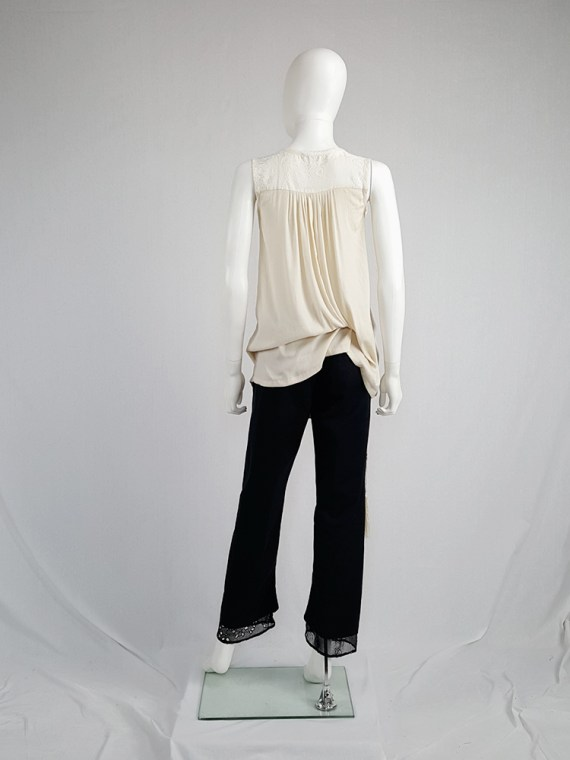 vintage Ann Demeulemeester beige top with brocade panel and tassels spring 2012 130646