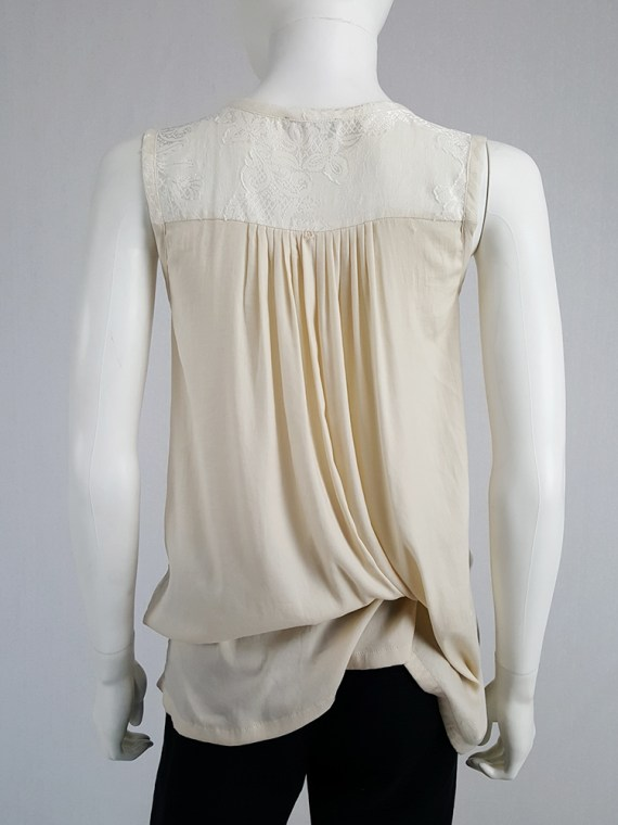 vintage Ann Demeulemeester beige top with brocade panel and tassels spring 2012 130656