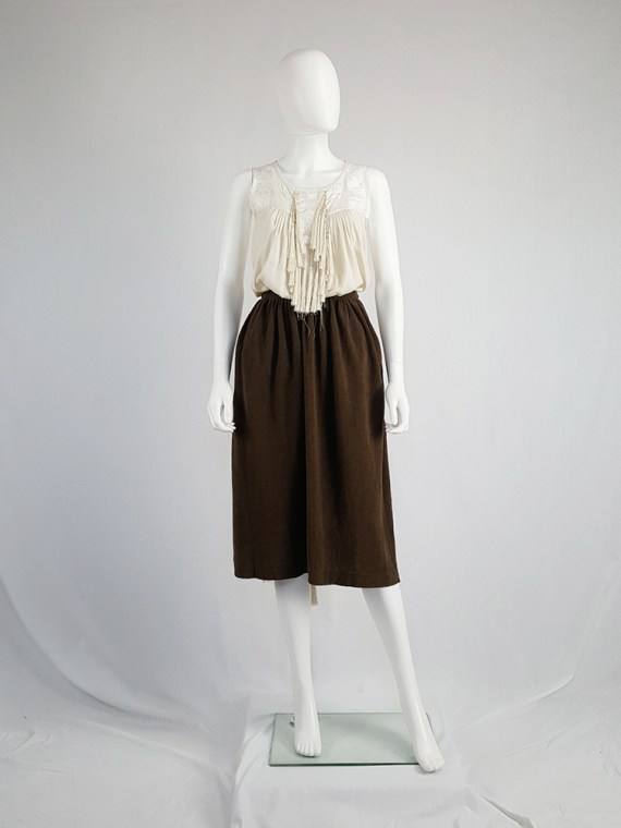 vintage Comme des Garcons brown pleated skirt in towel fabric 1970s 1980s110232(0)