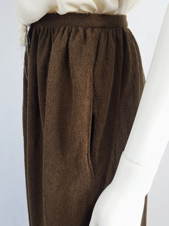 vintage Comme des Garcons brown pleated skirt in towel fabric 1970s 1980s110356