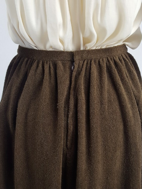 vintage Comme des Garcons brown pleated skirt in towel fabric 1970s 1980s110504