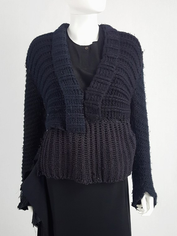 vintage Maison Martin Margiela artisanal black jumper made of scarves and jumpers 212335