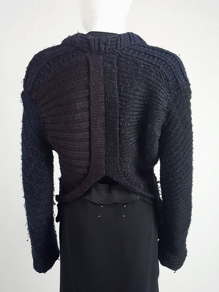 Maison Martin Margiela artisanal black jumper made of scarves and jumpers