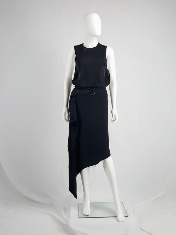 vintage Maison Martin Margiela black asymmetric skirt torn from the fabric roll spring 2006 211522