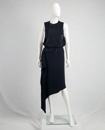 Maison Martin Margiela black asymmetric skirt torn from the fabric roll — spring 2006