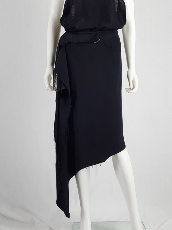 vintage Maison Martin Margiela black asymmetric skirt torn from the fabric roll spring 2006 211618
