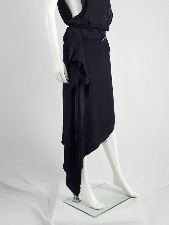 vintage Maison Martin Margiela black asymmetric skirt torn from the fabric roll spring 2006 211959