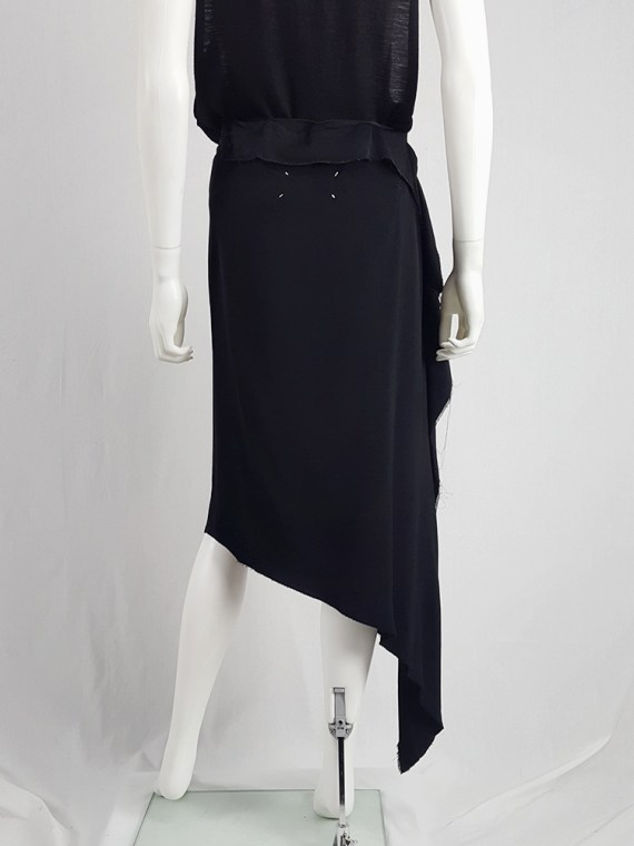 vintage Maison Martin Margiela black asymmetric skirt torn from the fabric roll spring 2006 212057