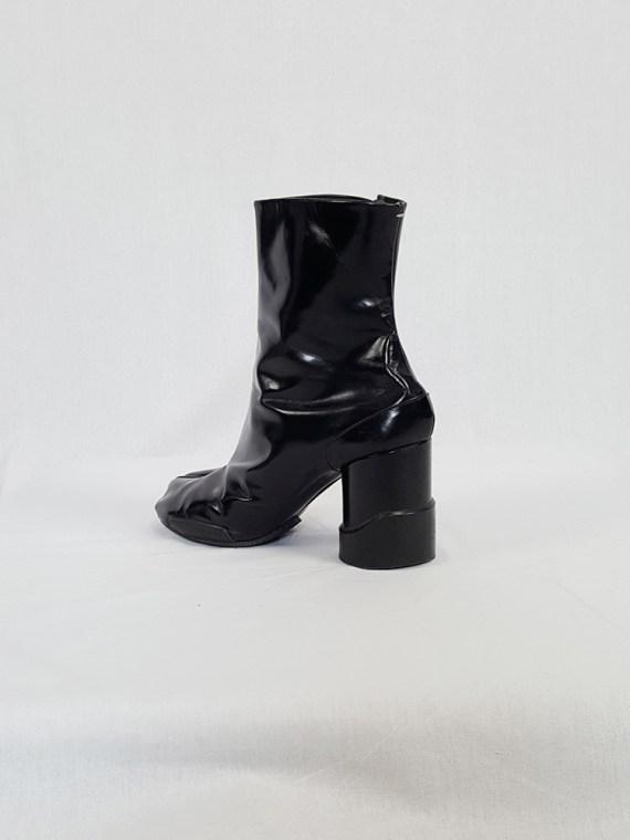 vintage Maison Martin Margiela black patent techno tabi boots fall 2014 134136