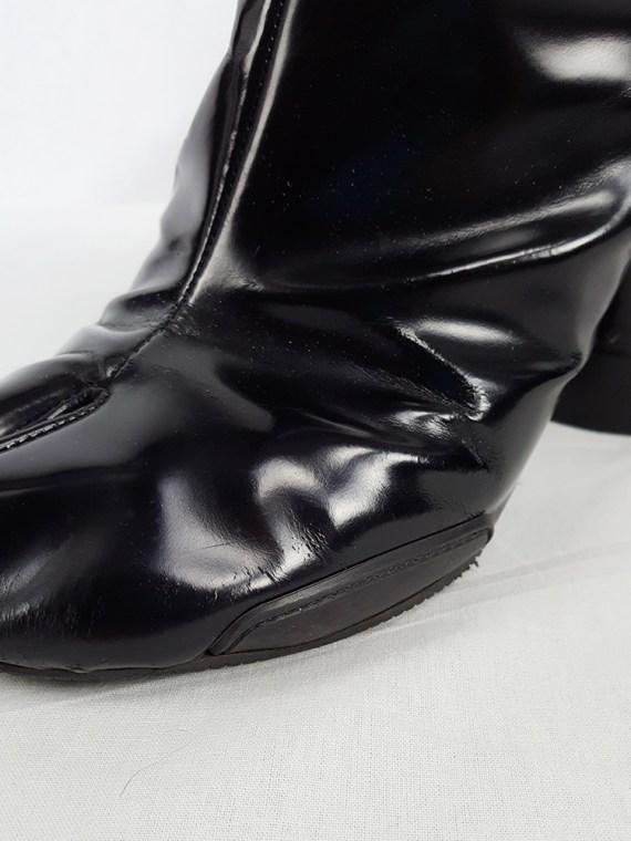 vintage Maison Martin Margiela black patent techno tabi boots fall 2014 134148