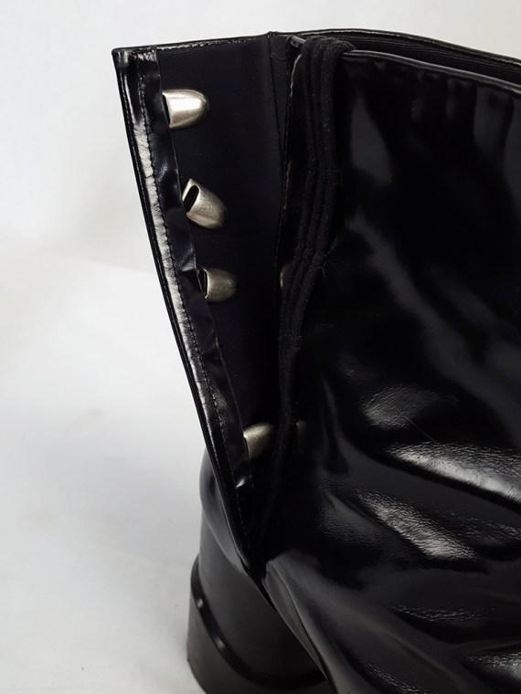 vintage Maison Martin Margiela black patent techno tabi boots fall 2014 134550