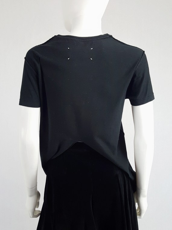 vintage Maison Martin Margiela black t-shirt hanging on the front of the body spring 2003 121109