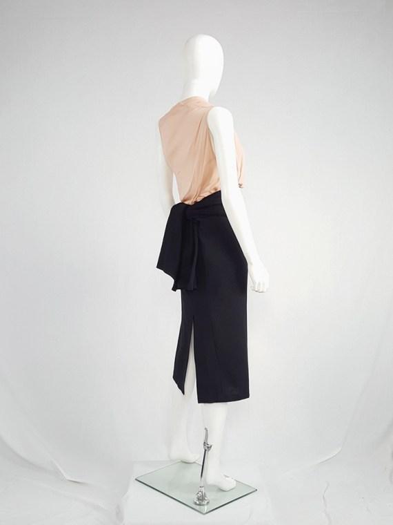 vintage Yohji Yamamoto black midi skirt with obi style sash 175835