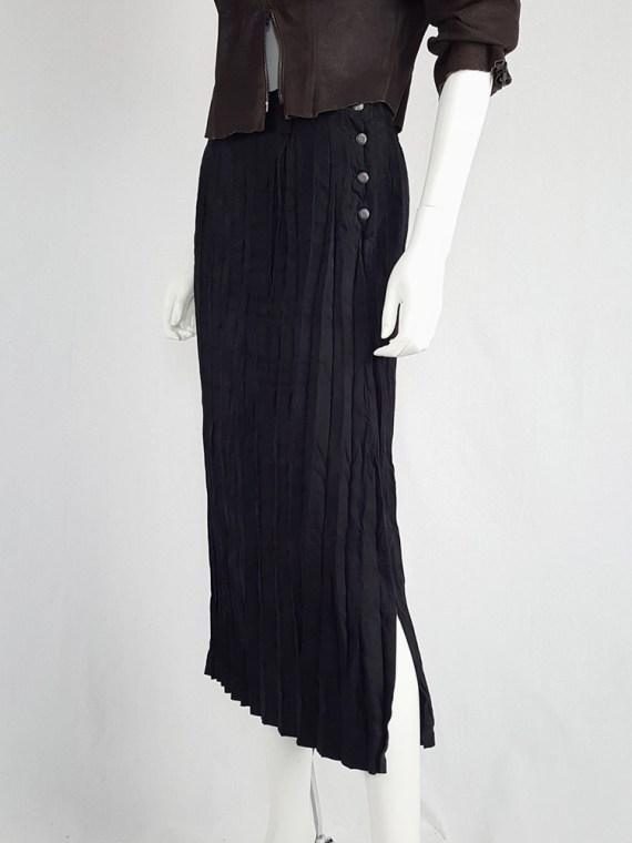 vintage Issey Miyake Fete black suede pleated maxi skirt 130608
