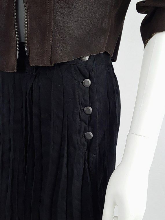 vintage Issey Miyake Fete black suede pleated maxi skirt 130632