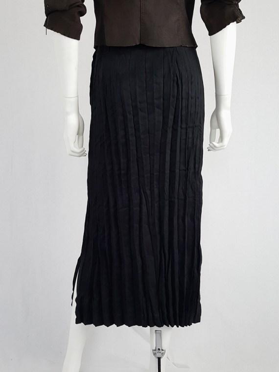 vintage Issey Miyake Fete black suede pleated maxi skirt 130758
